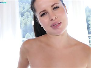 inviting honey Cassie Fire is wetting wet in rectal