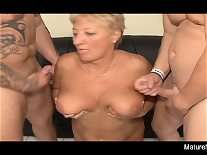 Mature ash-blonde needs two dicks to be sated