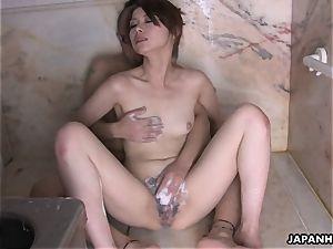 Tsubaki getting plowed in the douche and sucks a man sausage