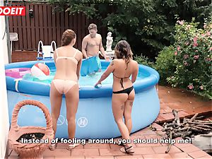 LETSDOEIT - insatiable StepSisters manhandle Brother's thick man meat