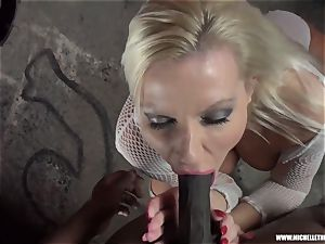 filthy light-haired babe sucks melon drains tears up phat dark-hued weenie