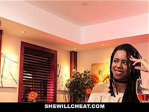SheWillCheat - hotwife wife bangs big black cock in bathroom