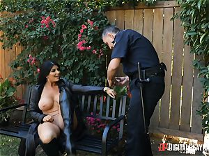 buxomy flasher Romi Rain rails dangled police officer