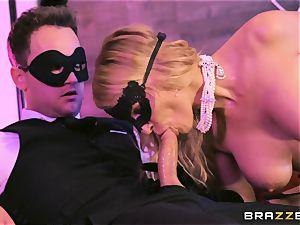light-haired ultra-cutie Rachael Cavalli having joy at the masquerade