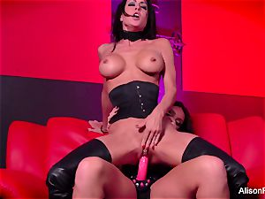 crimson room and warm strap-on action