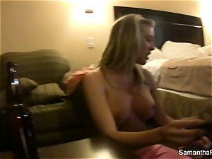Behind the gigs with platinum-blonde hotty Samantha Saint