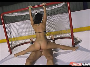 horny black-haired Eva Lovia plumbed deep in her cooter pie at the ice rink