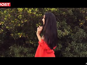 LETSDOEIT - mischievous black-haired Caught Running in the forest