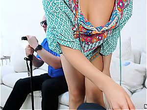 Housewife gets banged in front of blind hubby