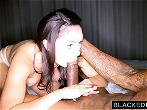 BLACKEDRAW crazy dark-haired wife enjoys black schlong in her hotel apartment