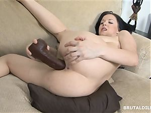 stunner with thick butt Riya rotating between brutal faux-cocks