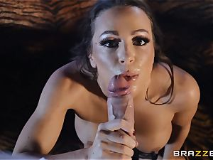 Abigail Mac packs her face with cream colored jizm