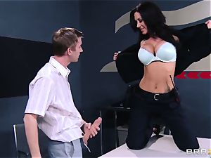 huge-boobed customs officer in the shape of questioning of a young guy with a thick sausage
