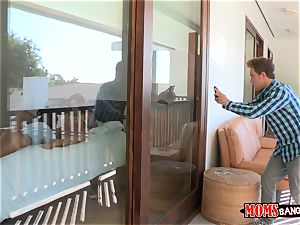 Eva Lovia catches her examine accomplice filming her and her stepmom getting freaky