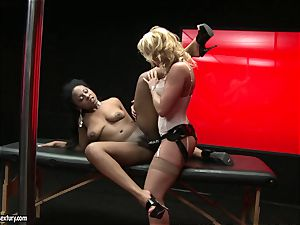 harsh Kathia Nobili thrusts her cable on prick deep down her partner throat
