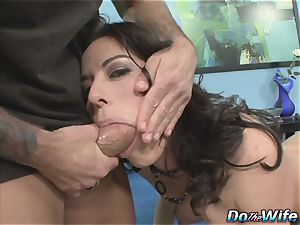 gorgeous mummy takes pipe in front of her hubby