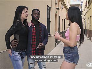 LAS FOLLADORAS - bi-racial ravage with Spanish pornographic star