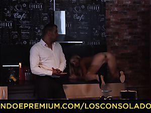LOS CONSOLADORES - Hungarian platinum-blonde gets penetrated pov