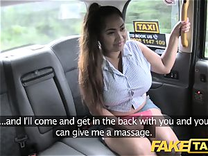 fake cab Thai massagist with hefty hooters works her magic