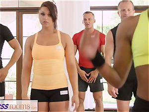 FitnessRooms sweat-soaked bosom in a apartment total yoga honeys
