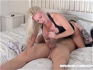 huge-titted ash-blonde has raw pussy munched fellating gigantic penis