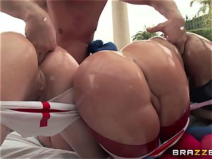 ass-fuck sex with three super-naughty massive caboose tramps Krissy Lynn, Nikki Delano and Rose Monroe