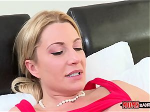 47-year-old milf with immense hooters tempts her stepdaughter and her bf