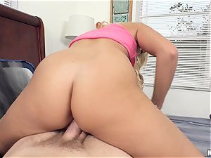 cum guzzler Kimmy Fabel drinking cum out of a cup