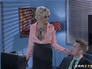 insatiable assistant Harlow Harrison drills the manager via his desk