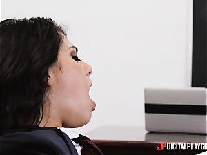 professor tucks his yam-sized knob into student Gina Valentina