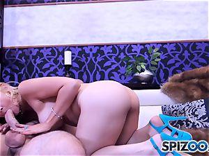 Sarah Vandella throating and tearing up a phat salami