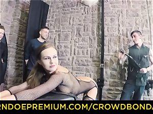 CROWD restrain bondage - extreme bondage & discipline tear up wheel with Tina Kay