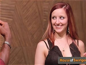 Ginger wifey meets nasty dude who thumbs her slit in the living apartment
