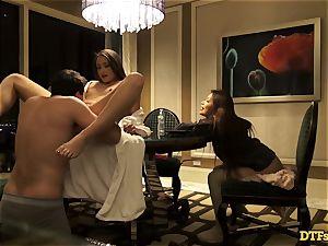 James Deen casts 3 wondrous babes to his huge shaft