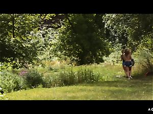 A female KNOWS - girly-girl forest fuck-a-thon with european honies