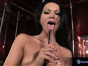 huge-chested pillar dancer Christina Bella playing fake penis