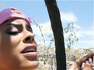 buxom Luna star plumbed outdoors on a tree