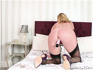 horny milf fucktoys wet pussy in nylons high stilettos garters