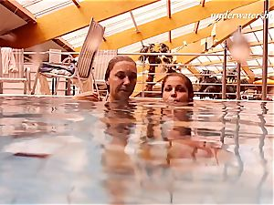 Iva and Paulinka enormous breasts teenis in the pool
