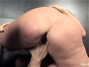 two busty Brunettes Take on ample man rod Together