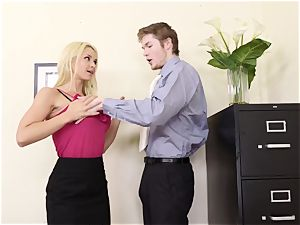 big-boobed platinum-blonde manager Sarah Vandella tempts young worker