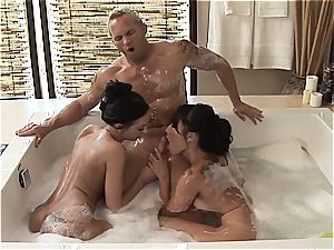 two oiled super-babes bang a fortunate bloke