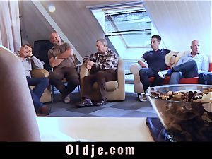 six oldman banging in gang a sexy red-hot blonde