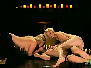 Charlotte Stokely frolicking with her hot lesbo mates