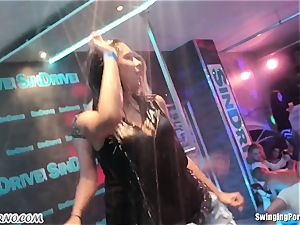 Fornication on the porn party in nightclub