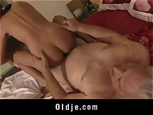 young woman gets granddad shaft inwards her labia