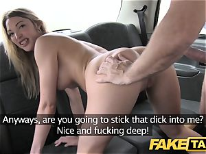fake taxi footjob and phat jizz shot for ultra-cute smooth-shaven gash