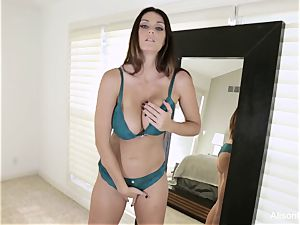 Tall princess Alison Tyler inserts her coochie with a plaything
