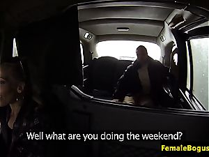 girl taxi driver plowing her passenger