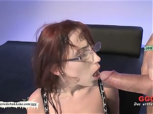 Nerdy Fiona with giant congenital boobies gets creamed